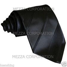 New polyester formal striped men's neck tie necktie black wedding prom party