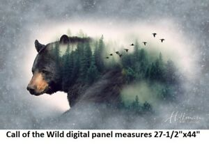 Call of the Wild Panel cotton quilt fabric Hoffman 27x44 P4356-44 Forest Bear