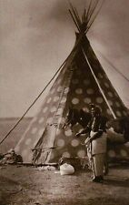 """ Bear Bull "" Blackfoot Indian, Tipi, Teepee, Horse --- Native American Postcard"