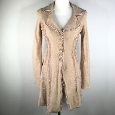 Sleeping On Snow Sweater Dress Womens S Brown Pink Floral Trim Button Front