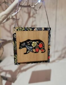 Christmas Tree Decoration Bauble Made William Morris Strawberry Thief Polar Bear