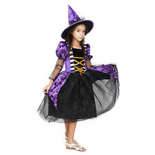 Witch costume girls Black Purple Deluxe Set Halloween Party