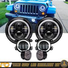 """DOT LED 7"""" Round Headlight + Fog Turn Light Kit Combo For Jeep Wrangler JK 07-18"""