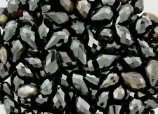 10 Pear 11mm to 19mm Dark Brown Black Agate Gem Faceted Bead Briolette CLOSEOUT