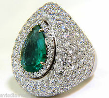 17.60CT 18K NATURAL FINE GREEN EMERALD DIAMOND 3D PUFFED DOME DECO RING+