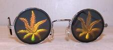 1 pair POT LEAF HOLOGRAM SUNGLASSES eyewear glasses eye marijuana novelty items
