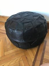 Egyptian leather footstool Pouf pouffe quilted dark brown