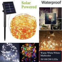 100 200 LED Solar Lichterkette Weihnachten Au?en Deko Beleuchtung Draht Leuchte