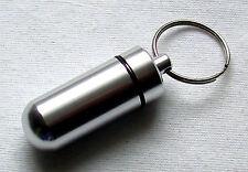 Schlüsselanhänger Pillendose silberfarben Snuffbox Pillenbox Medikamentendose