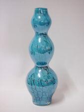 Art Glass table Vase Living Home Decor Light blue with Black Brand New 10cm*30cm