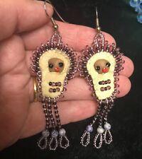 Vintage Native American Handmade Beaded & leather Dangle Earrings of Native Baby