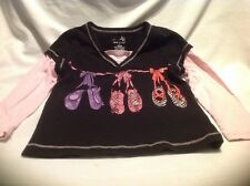 Okie-dokie 4 XS Girls Cotton Black And Pink with Ballet Slippers Graphic