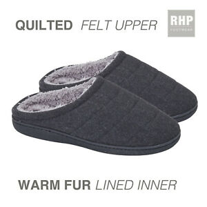 MENS QUILTED FUR LINED SLIPPERS COSY FELT GRIP SOLE INDOOR OUTDOOR UK SIZE 7-12