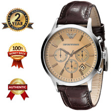 EMPORIO ARMANI AR2433 MEN'S SILVER AMBER Dial Chronograph Watch Leather Strap