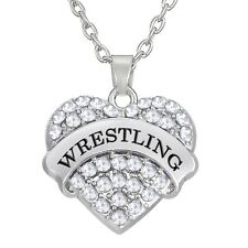 Wrestling Heart Charm Necklace Silver Crystal