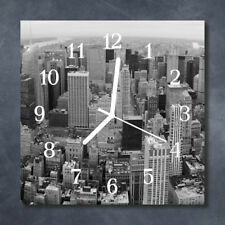 Glass Wall Clock Kitchen Clocks 30x30 cm silent Skyline Black & White