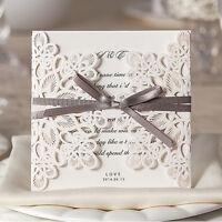 10x Elegant Laser Cut Wedding Invitation Card-White w/Ribbon; BulkBuy Disc. Appl