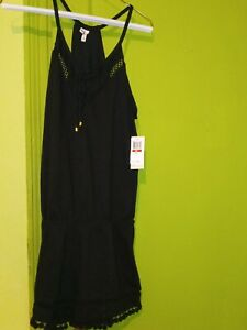 New With Tags Ella Moss Juliet Romper Shorts Black XS GORGEOUS