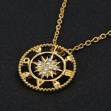 New Selling 10k Rose Gold Crystal Love Compass Pendant Necklace For Women