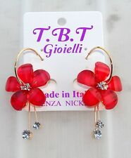 TOP FASHION Orecchini con cristalli da Donna,cerchio oro Fiori rosso
