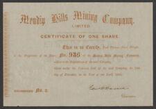 Mendip Hills Mining Company, one share, 1856, EF