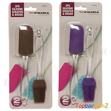 Silicone Pastry Oil Brush Spatula Set Baking Basting BBQ Glazing Clear Handle