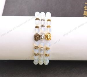 Natural Gemstone Round FACETED Beads  Buddha Head Stretchy Bracelets 8MM