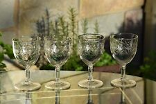 Vintage Retro Pressed Glass Cocktail Wine Glasses Set of 5