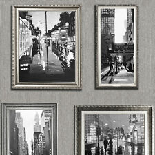 HEAVYWEIGHT VINYL CITY SILVER PICTURE FRAMES MURIVA FEATURE WALLPAPER 701339