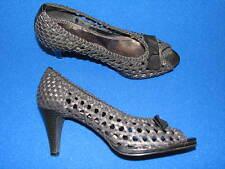 6 M Breezy Black BONGO ladies Shoes Womens Woven Breezy High Heel Pumps Peep Toe
