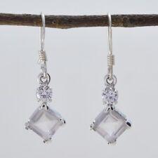 Pink 925 Sterling Silver genuine splendid Rose Quartz gemstones Earring AU gift