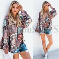 Womens Bohemian Floral Chiffon Blouse Long Sleeve V Neck Lace Up Tops T-Shirt