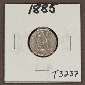 1885 10c Seated Liberty Silver Dime - VF/XF Details - Value Coin - SKU-T3237