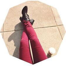 LF Carmar maroon/burgundy moto patch denim skinny jeans sz 24 NWT