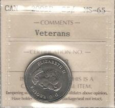 2005P VETERANS Twenty-Five Cents ICCS MS-65 GEM ** STUNNING QEII Canada Quarter