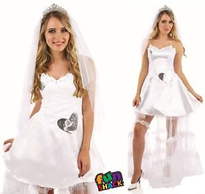 Ladies Bride Costume Womens Adults Wedding Hen Party Night Fancy Dress Outfit