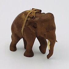 Vintage Hand Carved Wood Brown Wooden Elephant Figurine