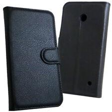 Custodia FLIP cover eco pelle NERA per Nokia Lumia 630 635 case stand+tasche