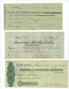 MEXICO 3 OLD CHECKS  PRE REVOLUTION   1890'S -1905   3 PCS LOT   EF