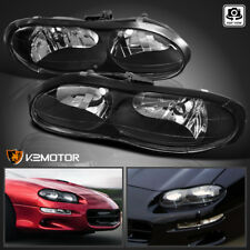1998-2002 Chevy Camaro Black Replacement Headlights Head Lights Lamps Left+Right