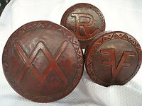 Vintage leather boxes Jewelry Nesting Round symbols Jewelry storage tooled