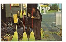 AMISH COUNTRY Man Selling His Wares, Brooms RT 30 PA Postcard Lancaster County