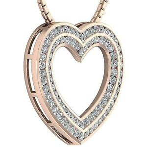 Channel Set Two Row Heart Pendant I1 G 2.00 Ct Natural Diamond 14K Rose Gold