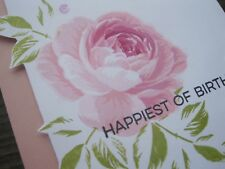 Birthday Handmade Greeting Card, elegant, flower, light pink, rose