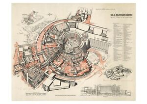BBC Television Centre TVC New Large A1 Poster 1957 Architects Drawing Plan