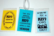 KISS NY Expo 1992 1993 1997 Vendor Guest 3pc Laminate Pass Lot Richie Ranno