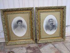 Paire de grands cadres en stuc doré avec photos Epoque 1900