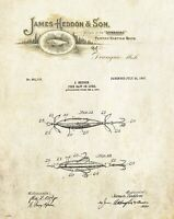 Fishing Lure Patent Art Print Vintage James Heddon Letterhead Cabin Decor PAT498