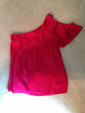 Charlotte Russe Junior's Pink One Shoulder Cut Out Flutter Sleeve Blouse Small