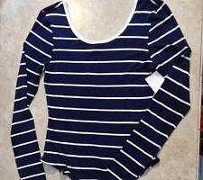 1129  Eyeshadow Navy Blue Striped Long Sleeve Body Suit Top M   J6378NZDE